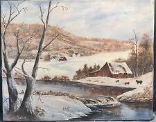 Vintage American Folk Art Oil Painting Farm Cabin Stream Cows Landscape