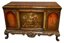 Antique Unique Carved Tudor Style Cabinet w/Asian Influence