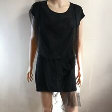 C221 - Dizen Black Sleeveless Stretchable Short Dress/Long Top with Toole Accent