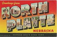 Greetings From North Platte NE Large Letter Linen Postcard