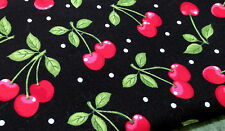 """Quilting Cotton novelty fabric black cherry cherries toss 18"""" x 36"""" remnant"""