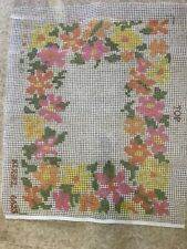 Vintage Kugel latch hook rug canvas 21�x27� 1970s Mod Flowers- Canvas Only