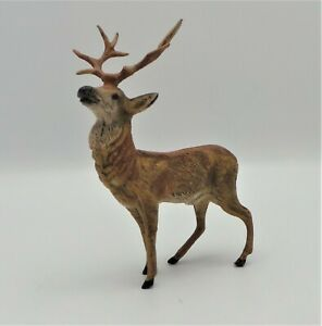 """ANTIQUE COLD PAINTED SPELTER STAG FIGURINE - BEAUTIFUL DETAIL 4.75"""" x 3.5"""""""