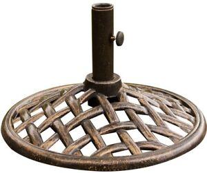 Umbrella Base Cast Iron Round Wooven Design Weatherproof in Oil-Rubbed Bronze