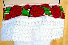 Peasant Mexican White Blouse Floral Embroidery Chiapas Top Hippie Gauze vtg1Sz