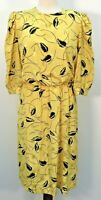 VTG 70s Lady Carol Petites Yellow Black Leaf Padded Shoulder Dress Womens Sz 14R