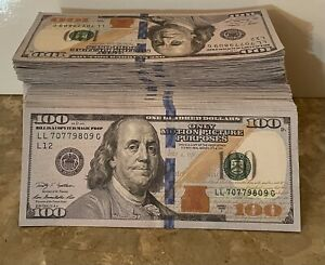 Replica Prop bills (100s)bundle. Funny LOOKS REAL MOTION PICTURE USE ONLY 5 K