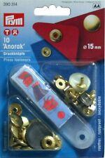 BOTTONI bottone A PRESSIONE ANORAK 15mm PRYM 390314 Oro Automatici Medi