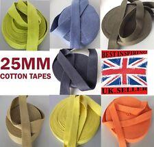 """25mm 1"""" Cotton webbing Tape soft Belt Fabric Strap mkhn Bag sewing dress craft"""