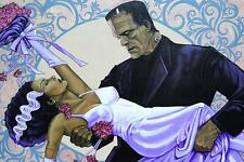 The Wedding by Mike Bell Tattoo Art Print Gothic Monster Bride of Frankenstein