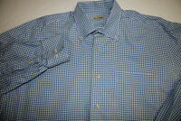 Peter Millar Men's Sz LARGE 100% Cotton Blue Check LONG Sleeve Button Shirt
