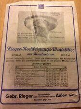 WERBEBLATT, Gebr. Rieger Aalen, HOCHLEISTUNGS-WATTEFILTER, SPEZIALFABRIK