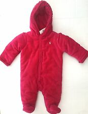 NWT Girls Ralph Lauren Pink Velour Padded Snowsuit age 6 months