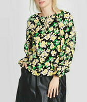 Who What Wear Women's Floral Print Balloon Sleeve Blouse, Green, Size S, $30,NwT