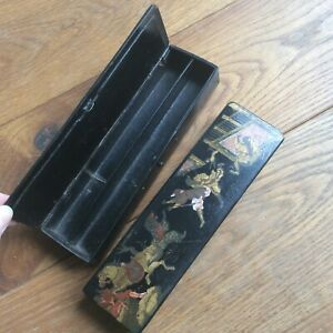 2 Antique Cases Cardboard Boiled Decor Chinese Cavaliers Napoleon III 19th