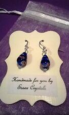 BLUE DARK BLUE MILLEFIORI GLASS teardrop shaped handmade earrings