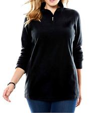Women's 3X 30/32 Fit 4X Black Fleece 1/4 Zip Top Shirt Pullover Bust 66 Lgth 30