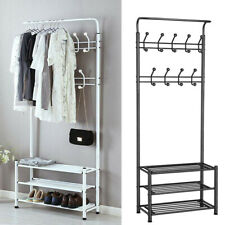Large Metal Hat and Coat Stand Clothes Shoe Rack Hanger Hooks Shelf Black White