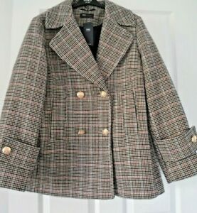 M&S BNWT COAT JACKET SIZE 18 CHECK LADIES WOOL MIX NAVY ALMOND BROWN