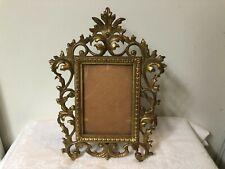 Vintage Brass Ornate Picture Frame Easel Back