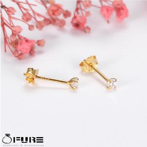 Tiny 18K Gold On 925 Sterling Silver Cubic Zirconia Little Ear Stud Earrings 3MM
