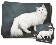 White Cat 'Yours Forever' Twin 2x Placemats+2x Coasters Set in Gift Bo, AC-130PC