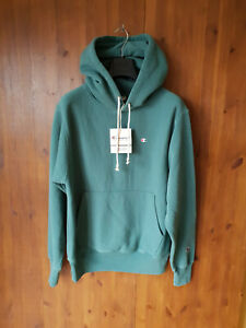 RRP £79 - CHAMPION HOODIE Mens Green Hooded Jumper Cotton SMALL - BNWT