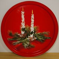 "Vintage Christmas Metal Tray 10 3/4"" Red With Candles And Greenery Cookie Party"