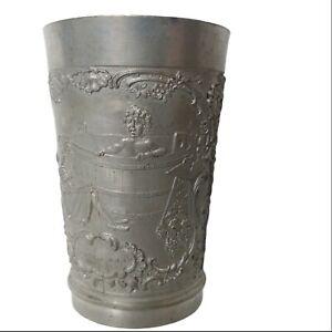 """Vintage German Pewter Mug Cup Tumbler Crying Baby In Wine Barrel Girl Bird 3.5"""""""