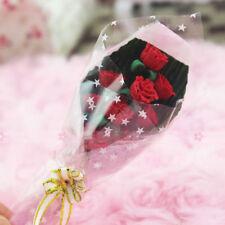 LC _ Miniatura Hecho a mano rosa roja Ramo de rosas flores flor planta dollhou