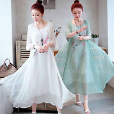 Corea Verano informal para mujer estilo retro con Lino Algodón Boho Maxi Vestido de Playa Bordar