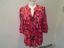 SIZE 6 - NEW $59.00 CHAUS Peasant Style Floral Red Pink Top Blouse Shirt