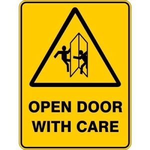 OPEN DOOR WITH CARE - SELF ADHESIVE STICKER / DECAL / SIGN | HEALTH & SAFETY