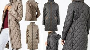 Ex M&S Padded Quilted Jacket Coat Feather and Down Hood Stormwear Size 8-22
