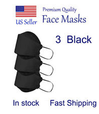 3 Black Masks Face Protective Mask, Breathable 4 Layers Black