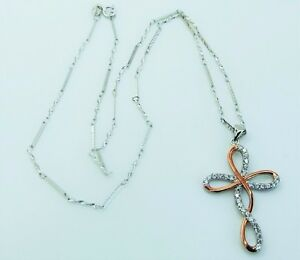 Beautiful Sterling Silver 925 Necklace Pendant with Cubic Zirconia Fox or Cross