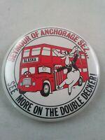 Vtg SEYMOUR MOOSE ANCHORAGE ALASKA Double Decker Bus pin button pinback *ee1