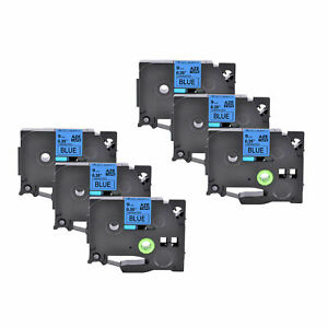 6PK COMPATIBLE LABEL TAPE FOR BROTHER 9mm P-TOUCH H101C, PT-H105 TZ521 BLK ON BL