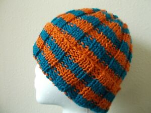 Hand knitted cozy and warm 100% wool hat, teal + orange stripes