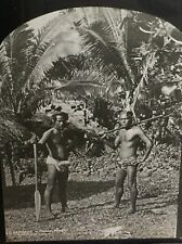 Rare C1860s Glass Lantern Slide Showing Two Samoa Natives Pango -Pango