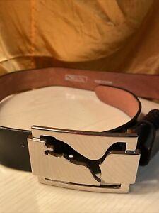 Authentic Puma Panther Genuine Leather Belt Black M 90 Cm Used Ones 105 Cm Long