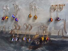 MILLEFIORI BEADS EARRINGS 14K GF links to match 1970s retro vintage necklaces