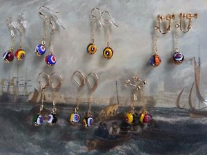 Vintage millefiori beads EARRINGS 14K gilt links - to match art deco necklaces