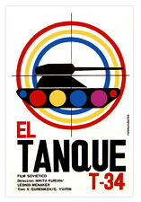 """Cuban movie Poster for Soviet film""""The TANK.Tanque""""Colorful War and Modern Art."""