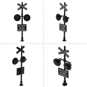 2pcs HO Scale 1:87 Model Railroad Crossing Block Signals Two-heads Red LEDs
