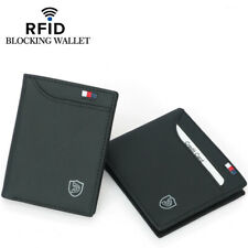 Men's Genuine Leather Slim Billfold Wallet RFID Blocking Card Holder Money Clip