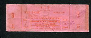 Original 1969 The Band unused full concert ticket Danko Helm Robertson