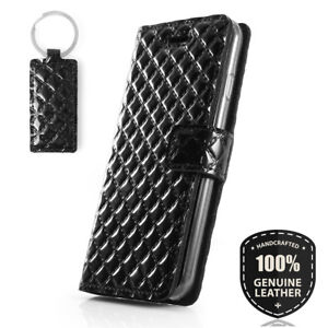 SURAZO® Premium Echtes Ledertasche Handy Hülle Schutzhülle Wallet Case - Schwarz