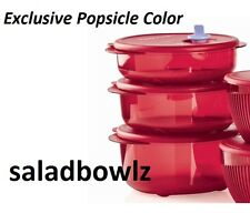 TUPPERWARE New VENT N SERVE 3 Pc SMALL ROUND Set in POPSICLE Red Containers/Lids
