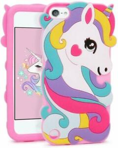 iPod Touch 5th 6th 7th Generation -Soft Silicone Case Pink Rainbow Unicorn Heart